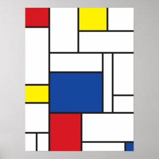 Tryck för Mondrian Minimalist De Stijl Vägg