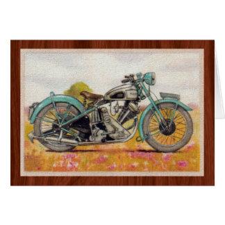 Tryck för motorcykel för vintageAquablått OBS Kort