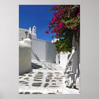Tryck för Mykonos grändkonst