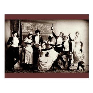 Tryck för partyflickavintage vykort