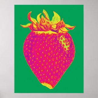 Tryck för popkonstjordgubbe poster