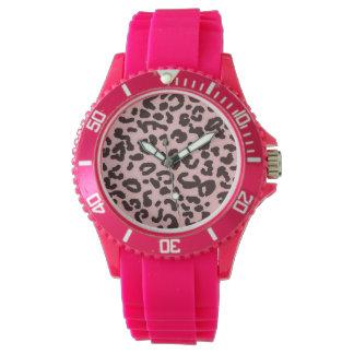Tryck för rosa Leopard för baby djurt Armbandsur