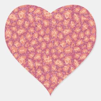 Tryck för rosaglitterCheetah Hjärtformat Klistermärke
