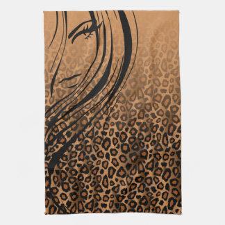 Tryck för solbränd Leopard för Silhouetteflicka | Handuk