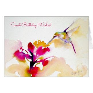 """Tryck """"för solnedgångsmutt"""" Hummingbird Hälsningskort"""