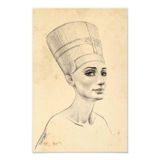Tryck för struktur för papyrus för Nefertiti Fototryck