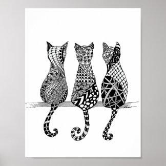 Tryck för tre svartvitt katter poster