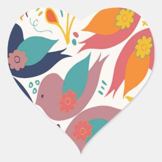 Tryck för trohopp- och kärlekfågel hjärtformat klistermärke