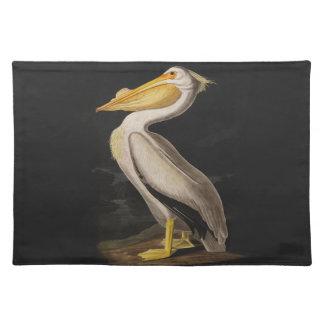 Tryck för vintage för fågel för Audubon vitpelikan Bordstablett