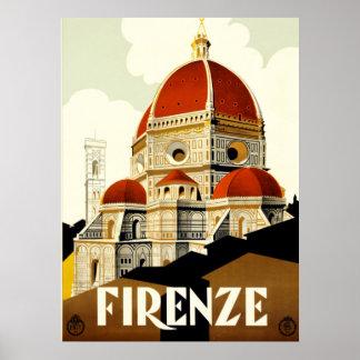 Tryck för vintage resorFirenze italien Poster