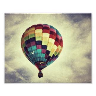 Tryck för vintagestilluftballong foton