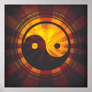 Tryck för vintageYin Yang symbol