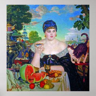 Tryck:  Köpman fru av Boris Kustodiev Poster