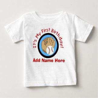 Tshirt för födelsedag för personligbaseball 1st tshirts