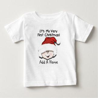 Tshirt för jul för personligvitbaby 1st tee shirts