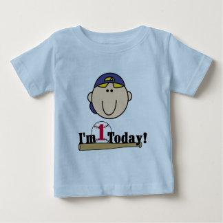 Tshirts för födelsedag för blond pojkebaseball 1st
