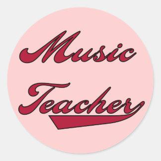 Tshirts och gåvor för musiklärare röda rund klistermärke