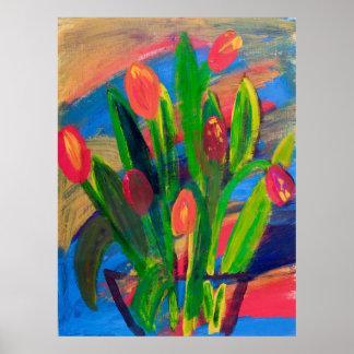Tulpan i en vasmålning i akryl vid Kay kuling Poster