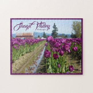 Tulpanfält (lilor) & ladugård (den Skagit dalen) Pussel