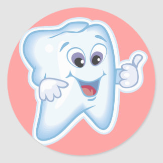 Tum upp för tand- hygien! runt klistermärke