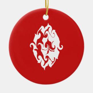 Tunisien Gnarly flagga Rund Julgransprydnad I Keramik