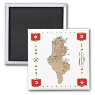 Tunisien karta + Flaggormagnet Magneter