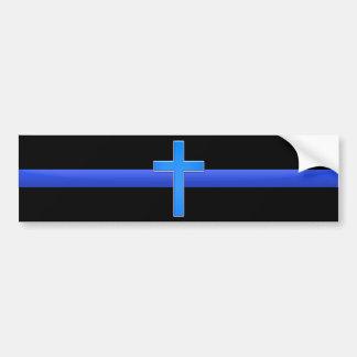 Tunn blålinjen & kor bildekal