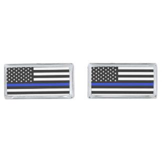 Tunn blålinjenamerikanska flaggan silverpläterade manschetterknappar