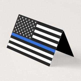 Tunn blålinjenamerikanska flagganminnesmärke kort