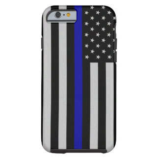 Tunn blålinjenflagga tough iPhone 6 case