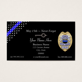 Tunn nyckel för handboja för blålinjenpolisemblem visitkort