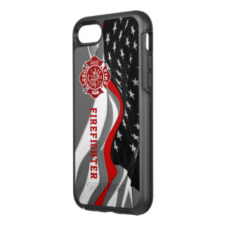 Tunn röd linjeiphone case för brandman OtterBox symmetry iPhone 7 skal