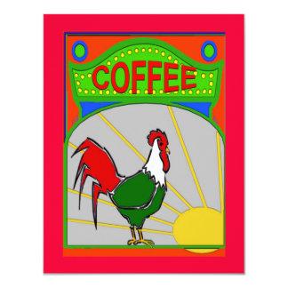 Tupp för sken för kaffemorgonsol 10,8 x 14 cm inbjudningskort