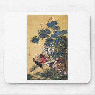 Tupp och höna med vanlig hortensia av Ito Jakuchu Musmatta
