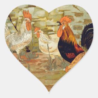 Tuppar och hönor hjärtformat klistermärke