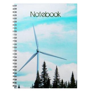 Turbin naturlig | för vind för textmall | parkerar anteckningsbok