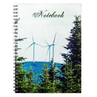 Turbiner för vind för textmall | naturlig | anteckningsbok med spiral
