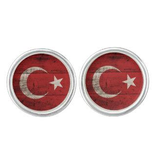 Turkiet flagga på gammalt Wood korn Cufflinks
