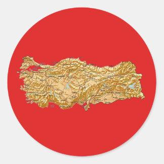 Turkiet kartaklistermärke runt klistermärke