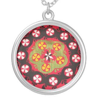 Turkisk blom- design för antik Ottomanbroderi Silverpläterat Halsband