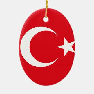 Turkisk flagga julgransprydnad keramik