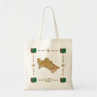 Turkmenistan karta + Flaggor hänger lös Budget Tygkasse