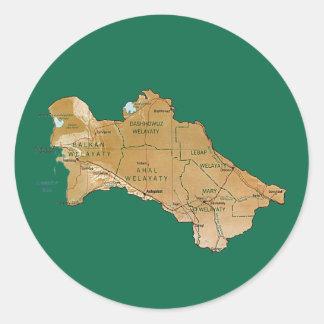 Turkmenistan kartaklistermärke runt klistermärke
