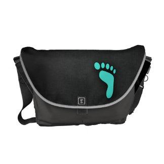 Turkos Blått-Grönt fotspår Messenger Bag