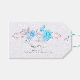 Turkos blommar bukettvattenfärgbröllop presentetikett