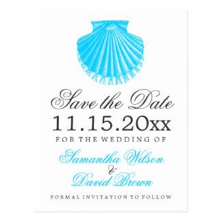 Turkos för strandbröllop spara datumkammussla vykort