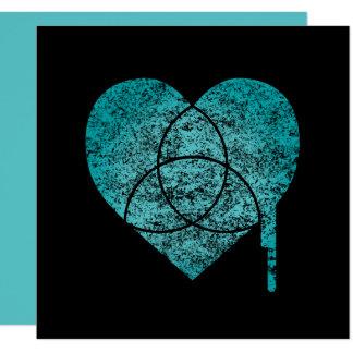turkos kartlägger hjärta fyrkantigt 13,3 cm inbjudningskort