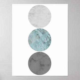 Turkos och grått cirklar affischen poster