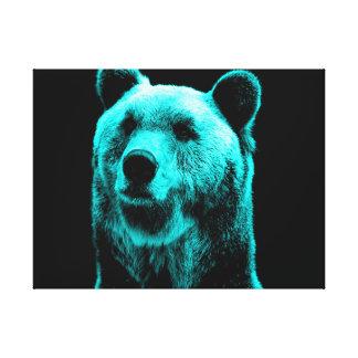 Turkos- och svartGrizzlybjörnporträtt Canvastryck