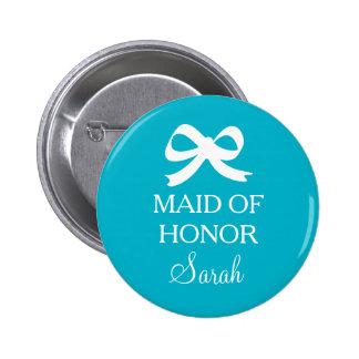 Turkosblåttmaid of honor knäppas för att gifta sig standard knapp rund 5.7 cm